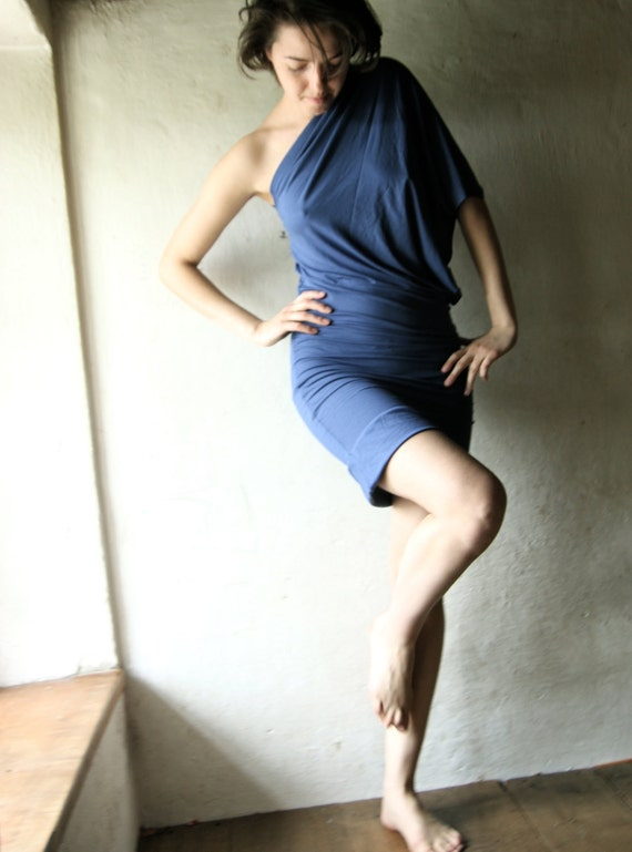 blue short dress in stretch jersey - womens draped tunic gown
