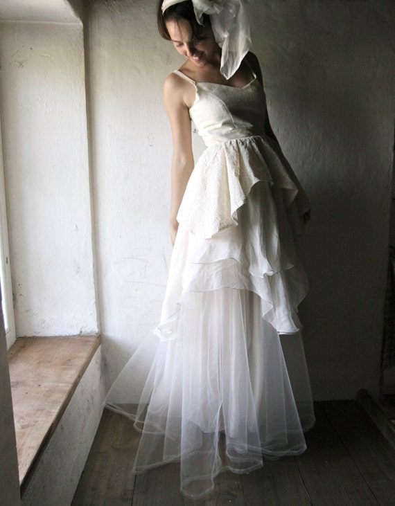 Wedding Dress - Bridal Gown ivory silk chiffon floor length couture handmade gown one of a kind