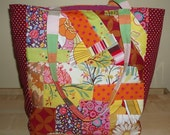 Large patchwork tote/shopper bag made from a variety of retro prints