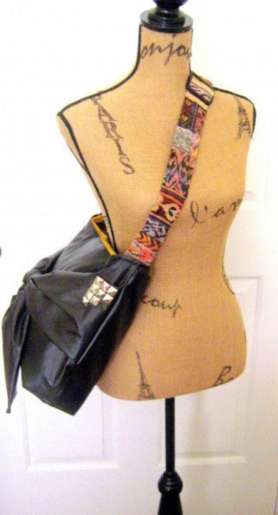 HANDMADE Rockstar guitar studded bow messenger purse black vegan leather tote-Made to order