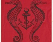 Unisex size Medium Victorian Anchor and Seahorse tee in red