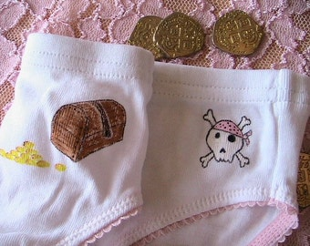 Pirate Bootie Panties (girls size 7/8) hand painted