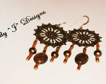 Long Copper Sunburst Dangle Earrings Beaded Wood and Bronzite Handmade