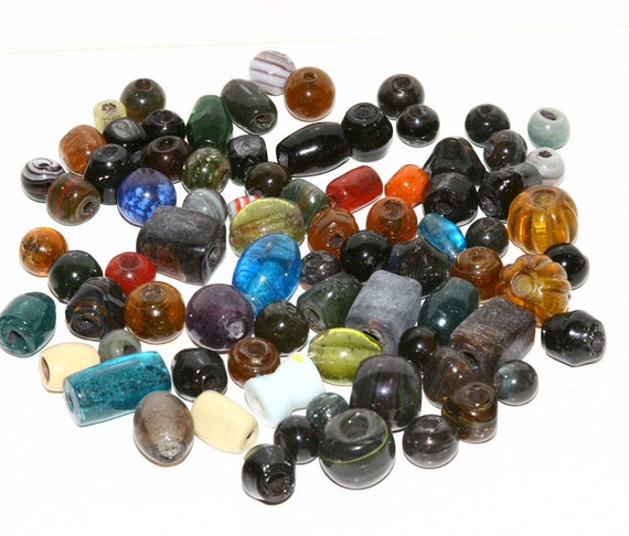 Large Glass Beads Assorted Colors Sizes .5 To 1 Inch 79 Beads