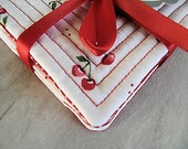 Quilted Fabric Coasters,  Cherry Coasters, Coaster Set of Four