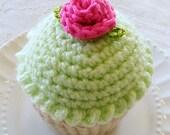 Cupcake Pincushion, Pincushion, Crocheted Cupcake Lime Frosting