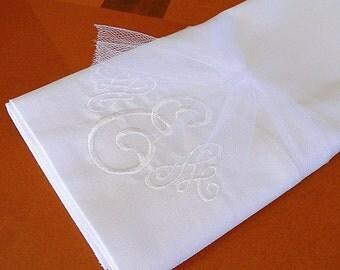 White Monogram Pillowcase, Personalized Pillowcase, Personalized Gift, Gift for Couples, Personalized Wedding Gift,  Bridal Shower Gift
