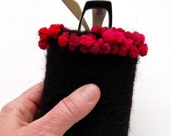 felted wool eyeglass case ebony black with garnet