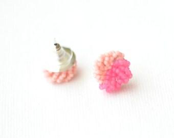 Colorblock Stud Earrings - Pink and Pink cluster earrings