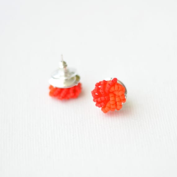 Colorblock Stud Earrings - Red Orange cluster earrings