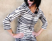 You Tell Me - iheartfink Handmade Hand Printed Womens Black White Stripes Jersey Cowl Top