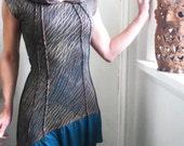 Raining in Darling - iheartfink Handmade Hand Printed Artistic Asymmetrical Hooded Tunic Frock