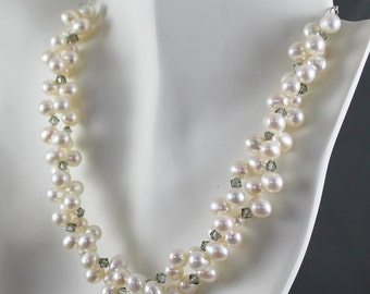 Twisted Freshwater Pearl and Black Diamond Crystal Necklace