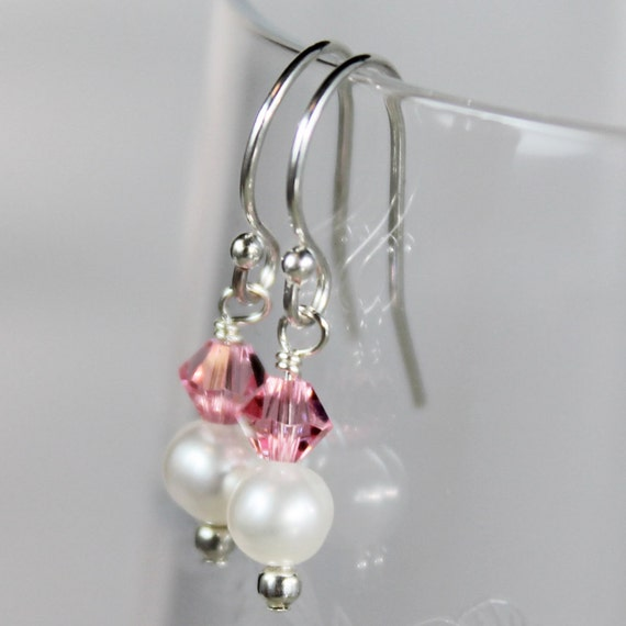 Freshwater Pearls and Light Rose Swarovski® Crystal Earrings