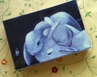White Bunny Illustration. Art. Three 3 Sleeping Bunnies -  4 X 6 Inch  Handmade Painting on Canvas - Cute Animals - Bedtime
