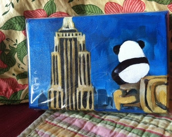 Hero Panda  -  4 X 6 Inch  Handmade Painting on Canvas -Panda Sitting on the Chrysler Building looking at the Empire State Building