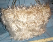 Faux fur bucket bag, luxury fur champagne color with gold ring handles OOAK
