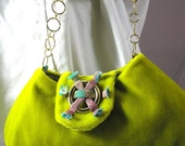 Poison green chartreuse velour small handbag gold chain handle OOAK