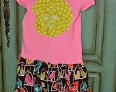 Tshirt Dress Pink with Birds 2T