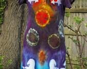 Tie Dye Resist Itajime Cozmic Rider Henley Dress With Stars Multi Color