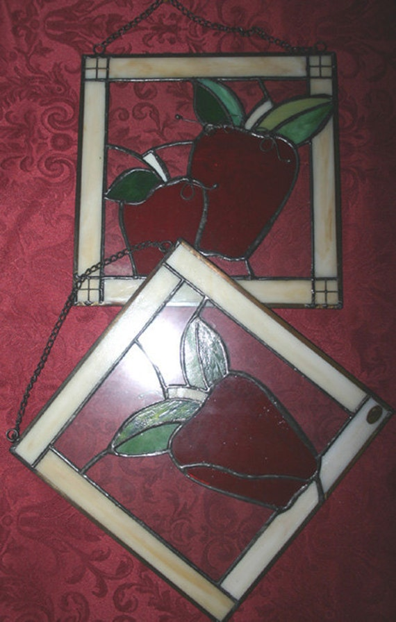 Vintage Set of Two Stained Glass Apple Wall Hangings