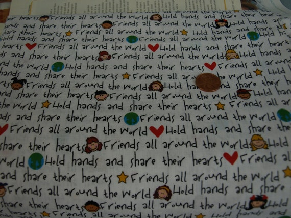 Friends Around The World Fabric 1 Yard OOP