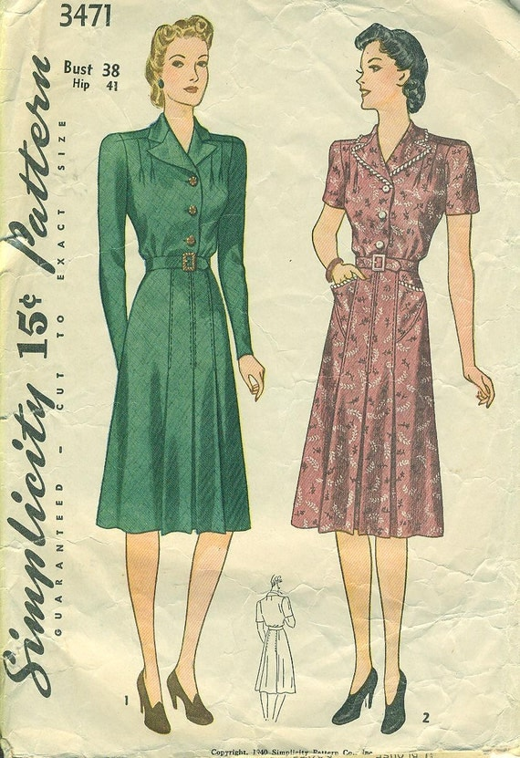 Simplicity 3471 - circa 1940 Tailored Dress