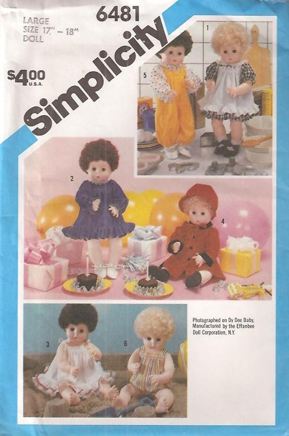 Simplicity 6481 Baby Doll Clothing Size 17-18 Inches circa 1984