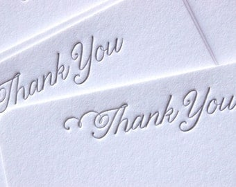 Note Cards - LETTERPRESS - Petite Thank You No. 3 - Set of 24 by Invited Ink