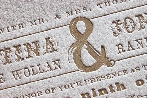 Letterpress Wedding Invitations - LETTERPRESS - Love Invited - Set of 100 by Invited Ink