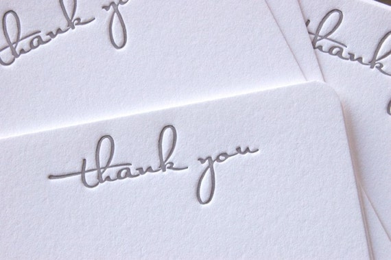 Note Cards - LETTERPRESS - Thank You No. 2 - Set of 24 by Invited Ink