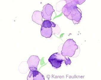 """Watercolor flowers art print: """"Violets"""""""