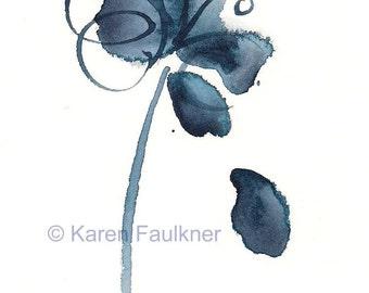 "Indigo blue watercolor abstract flower art print: ""The Blues Singer"""