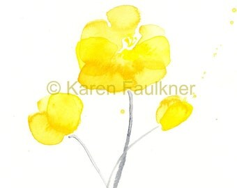 """Watercolor flowers, art print of yellow flowers: """"Sunshine Blossoms"""""""