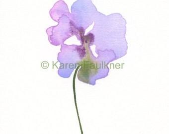 """Art print of lavender watercolor flower: """"Fairy Garden Flower"""""""