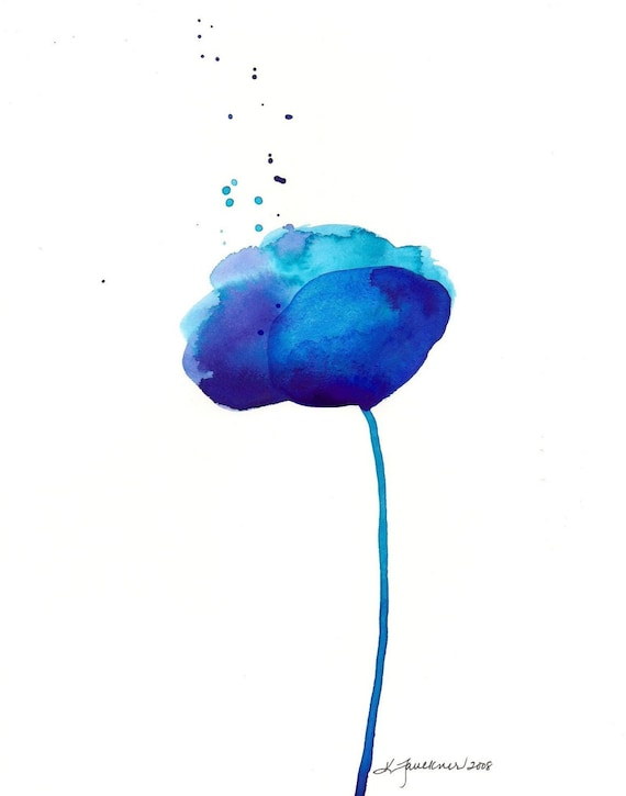 """Watercolor art print of an abstract blue flower : """"Glorious Blue"""""""