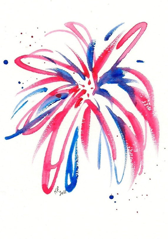 RESERVED FOR PHYLLIS Firework original watercolor painting 4x6 inches