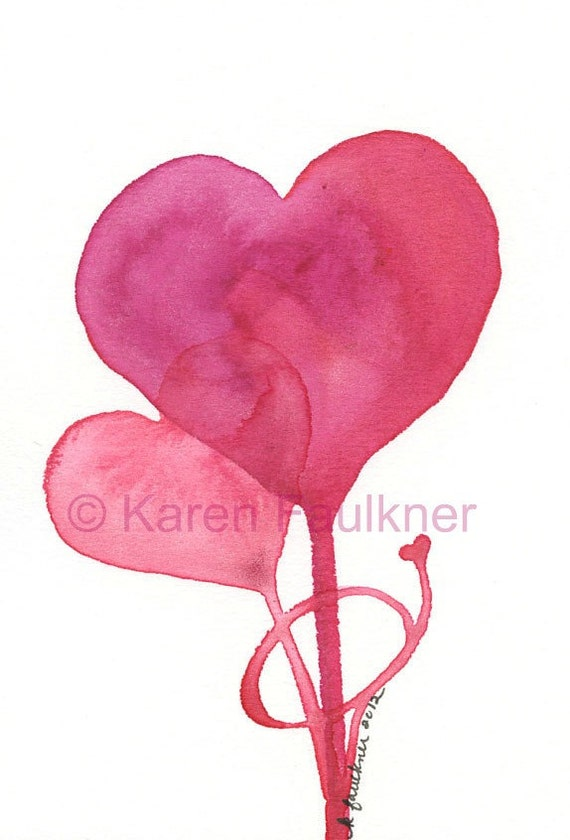 Art, Painting, Watercolor Painting for Valentine's Day: Intertwined hearts
