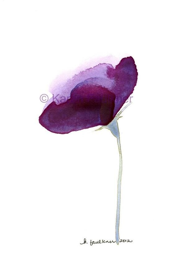 "Watercolor flower art print of a purple flower: ""Lisianthus"""