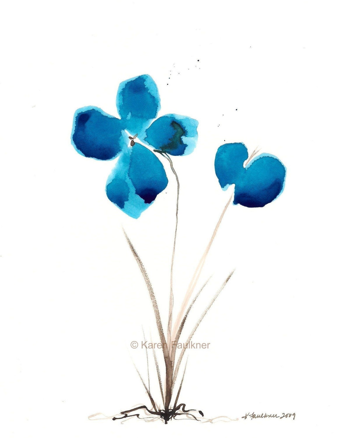 Art print of watercolor flowers bluest of by for How to paint simple watercolor flowers