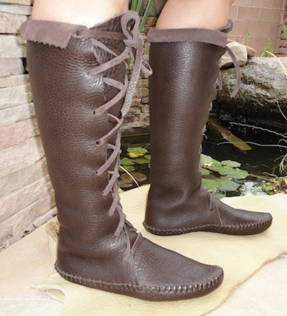 Elf Boots Handmade Moccasins Dark Brown Or Black Leather