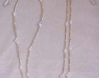 Handmade with Swarovski Crystal Ab Eyeglass Chain Holder Only Silver or Gold
