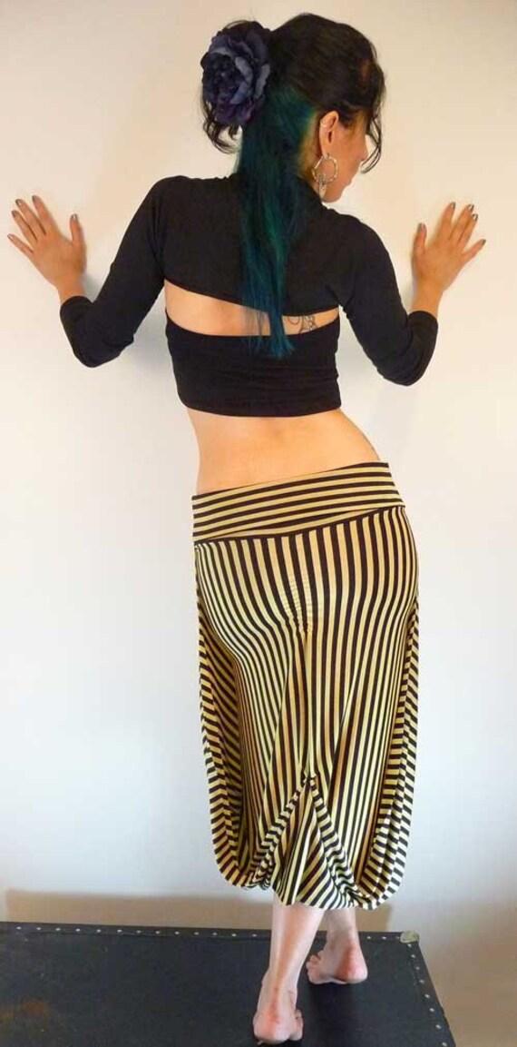 Steampunk Stretchy Convertible Yellow Black Striped Skirt Small/Medium
