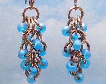 Copper Beaded Earrings, Blue Dangle Earrings, Copper Chainmail Jewelry