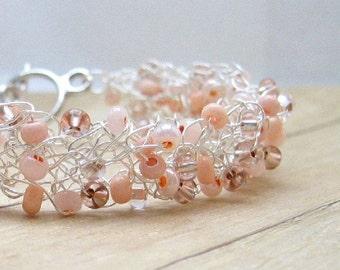 Peach Wire Bracelet, Crocheted Wire Jewelry, Bead Crochet Bracelet, Beaded Pastel Apricot Wire Bracelet, Women's Accessories