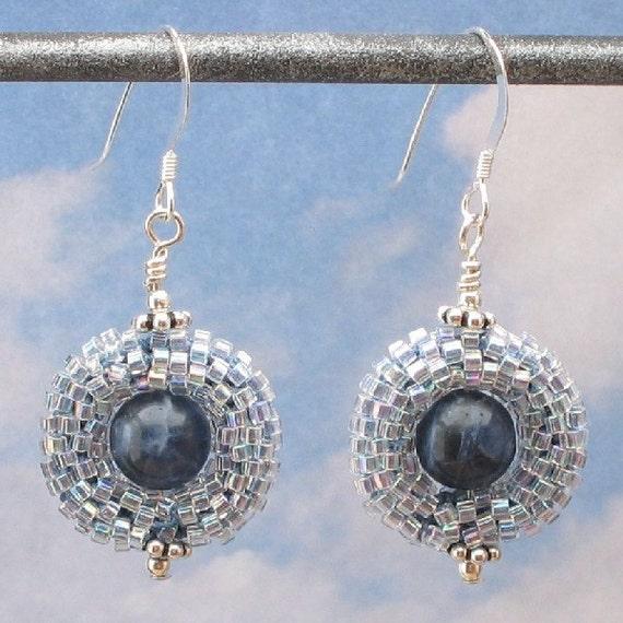 Denim Blue Earrings, Bead Crochet Earrings,Sodalite, Seed Beads, Sterling Silver Ear Wires, Handmade Jewelry