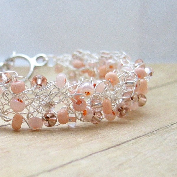 Peach Wire Bracelet Crocheted Wire Jewelry Bead Crochet