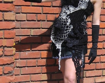 Black Magic Woman Party Dress Tunic and Mini Skirt crochet knit couture Burning Man Black Fairy wear by Krisztina Lazar