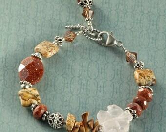 Chunky Boho Gemstone Sterling Silver Crystal Bracelet, Rose Quartz Carved Flower, Picture Jasper, Goldstone BDES