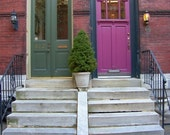 Purple and Green Doors Architecture of Philadelphia Fairmount Neighborhood Brick Stone Wood House Photograph